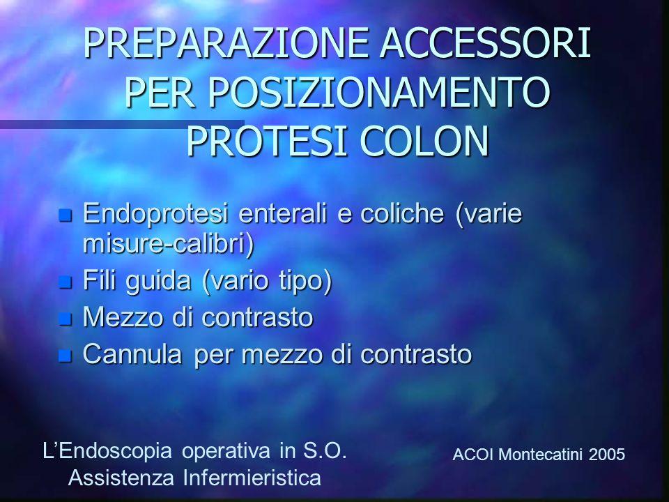PREPARAZIONE ACCESSORI PER POSIZIONAMENTO PROTESI COLON Endoprotesi enterali e coliche (varie misure-calibri) Endoprotesi enterali e coliche (varie mi