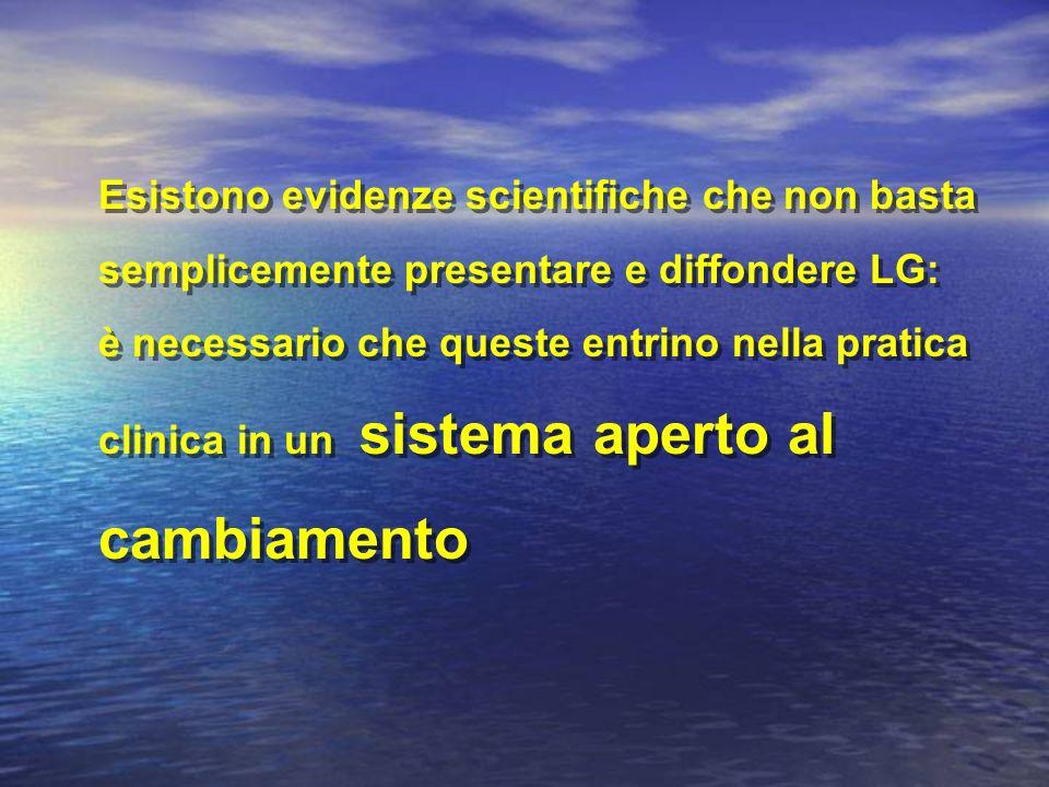 Esistono evidenze scientifiche che non basta semplicemente presentare e diffondere LG: è necessario che queste entrino nella pratica clinica in un sis
