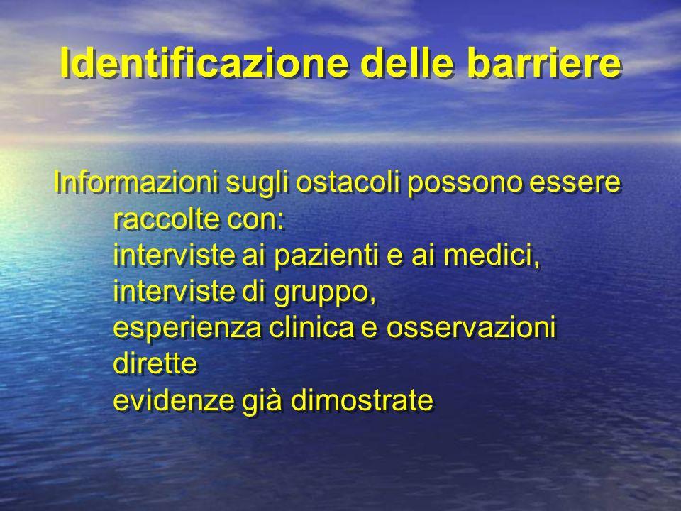 Identificazione delle barriere Informazioni sugli ostacoli possono essere raccolte con: interviste ai pazienti e ai medici, interviste di gruppo, esperienza clinica e osservazioni dirette evidenze già dimostrate