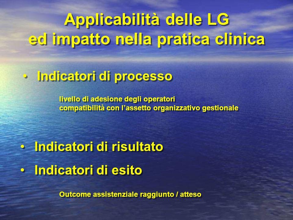Indicatori di risultato Indicatori di esito Indicatori di risultato Indicatori di esito Indicatori di processo livello di adesione degli operatori com