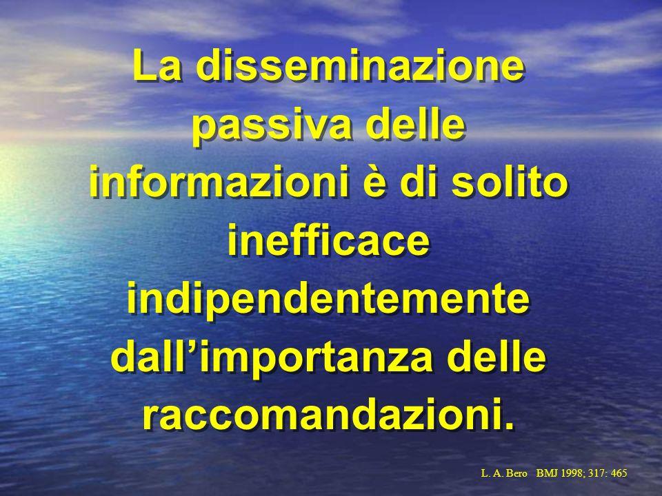 La disseminazione passiva delle informazioni è di solito inefficace indipendentemente dallimportanza delle raccomandazioni. L. A. Bero BMJ 1998; 317: