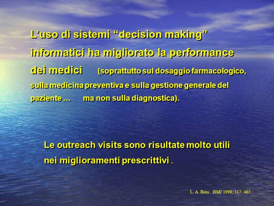 Luso di sistemi decision making informatici ha migliorato la performance dei medici (soprattutto sul dosaggio farmacologico, sulla medicina preventiva e sulla gestione generale del paziente … ma non sulla diagnostica).