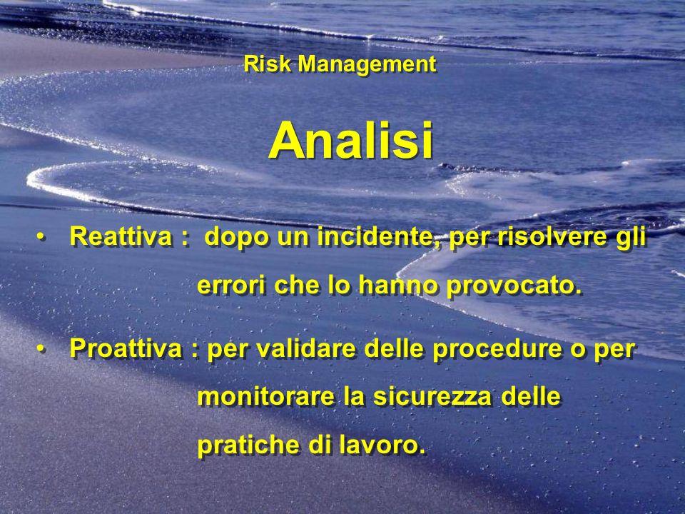 Risk Management Analisi Risk Management Analisi Reattiva : dopo un incidente, per risolvere gli errori che lo hanno provocato. Proattiva : per validar