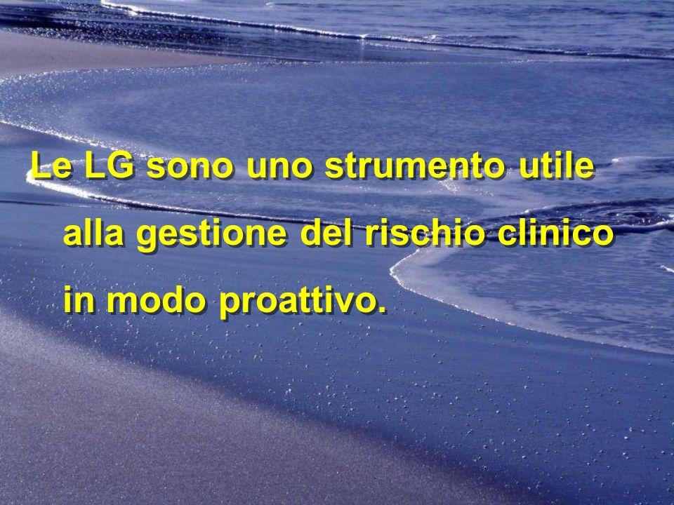 Le LG sono uno strumento utile alla gestione del rischio clinico in modo proattivo.