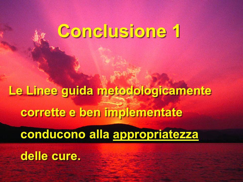 Le Linee guida metodologicamente corrette e ben implementate conducono alla appropriatezza delle cure. Conclusione 1