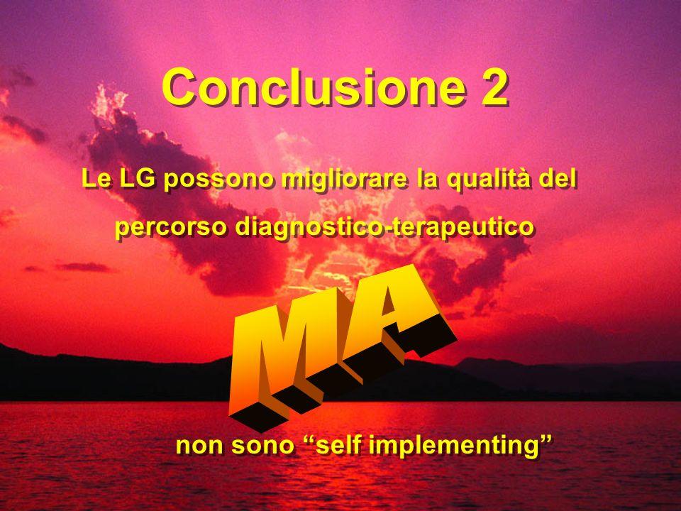 Conclusione 2 Le LG possono migliorare la qualità del percorso diagnostico-terapeutico non sono self implementing