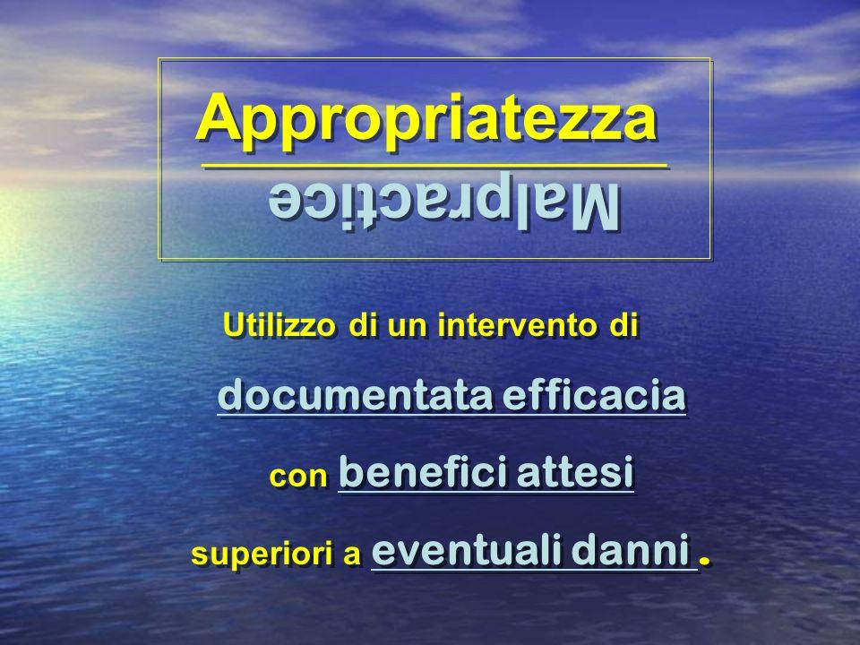 Appropriatezza Utilizzo di un intervento di documentata efficacia con benefici attesi superiori a eventuali danni. Malpractice