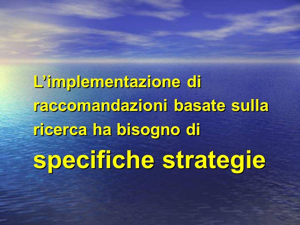 Limplementazione di raccomandazioni basate sulla ricerca ha bisogno di specifiche strategie