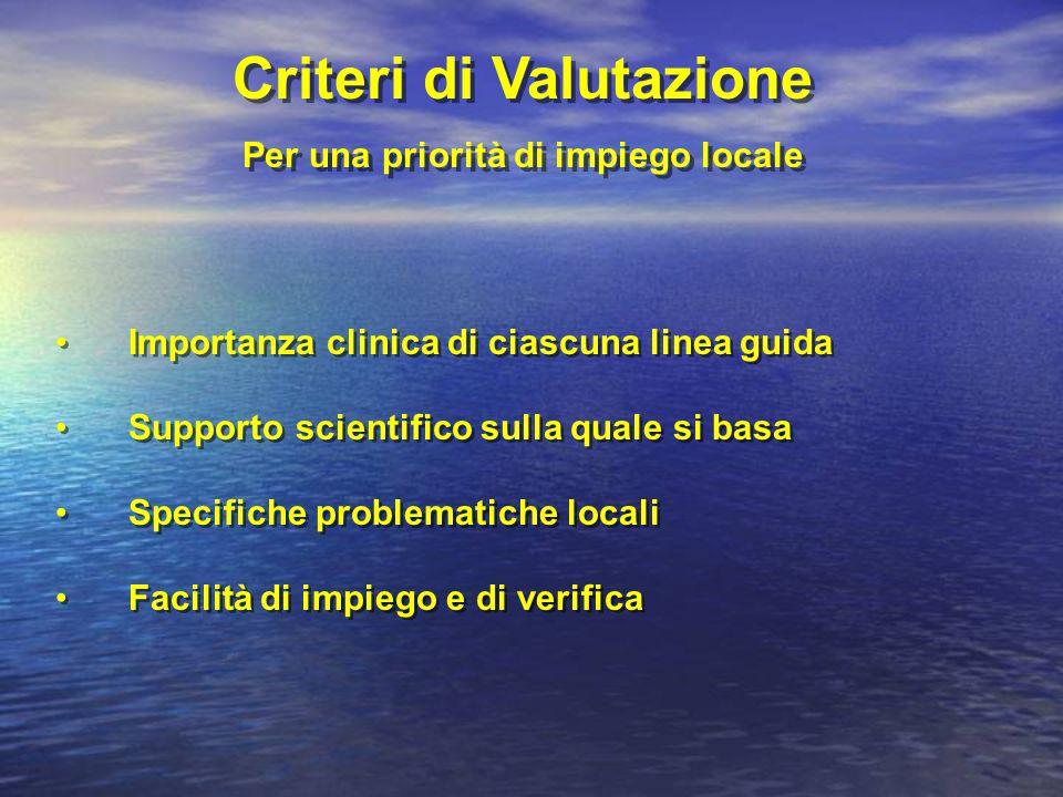 Importanza clinica di ciascuna linea guida Supporto scientifico sulla quale si basa Specifiche problematiche locali Facilità di impiego e di verifica