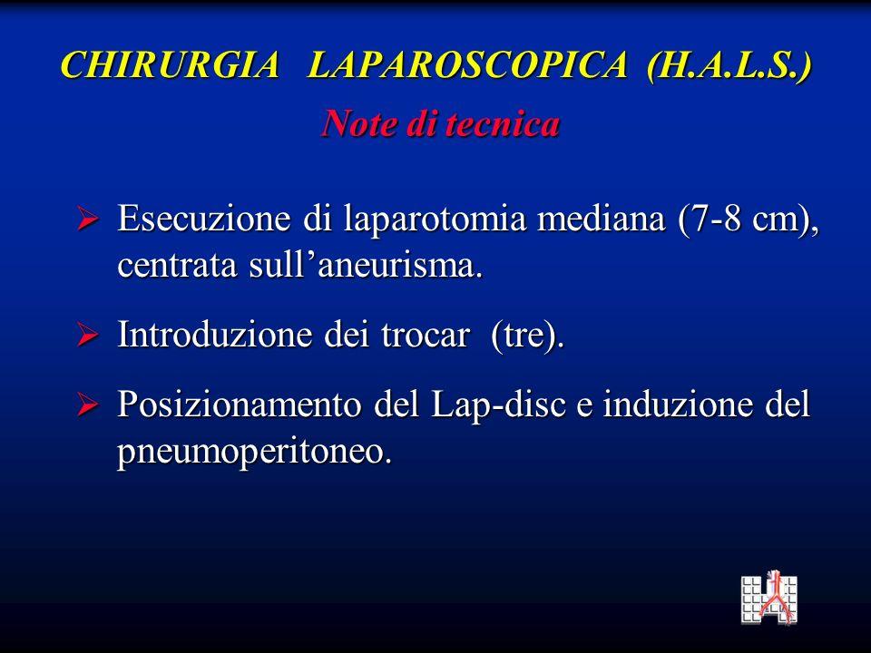 Esecuzione di laparotomia mediana (7-8 cm), Esecuzione di laparotomia mediana (7-8 cm), centrata sullaneurisma.