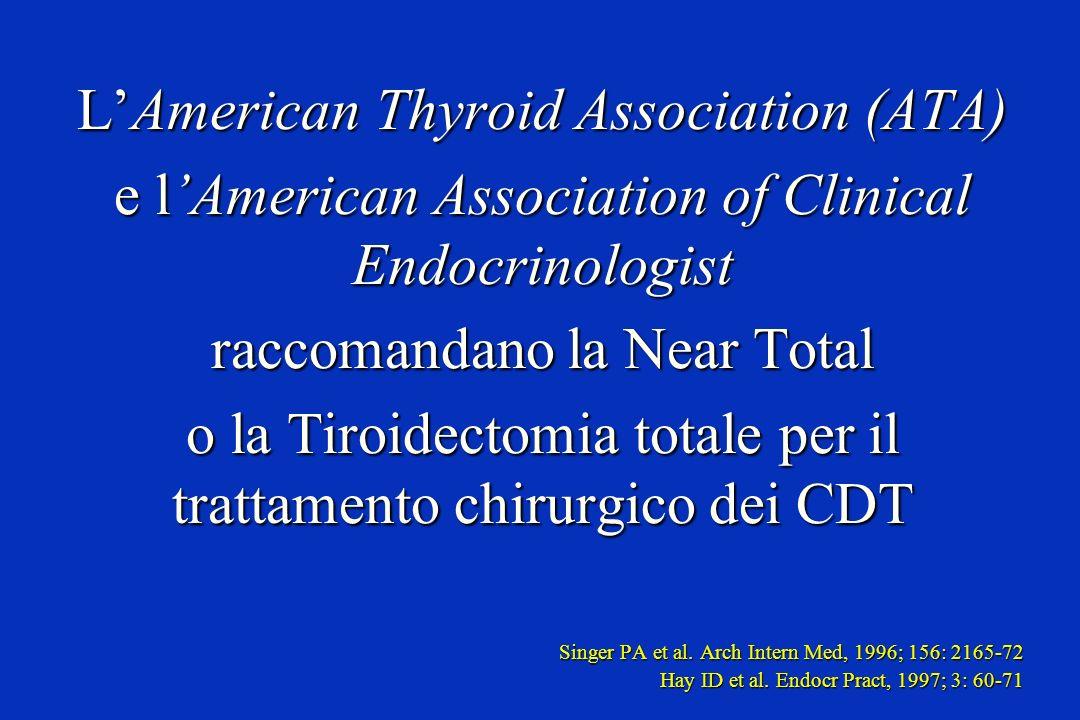 LAmerican Thyroid Association (ATA) e lAmerican Association of Clinical Endocrinologist raccomandano la Near Total o la Tiroidectomia totale per il tr