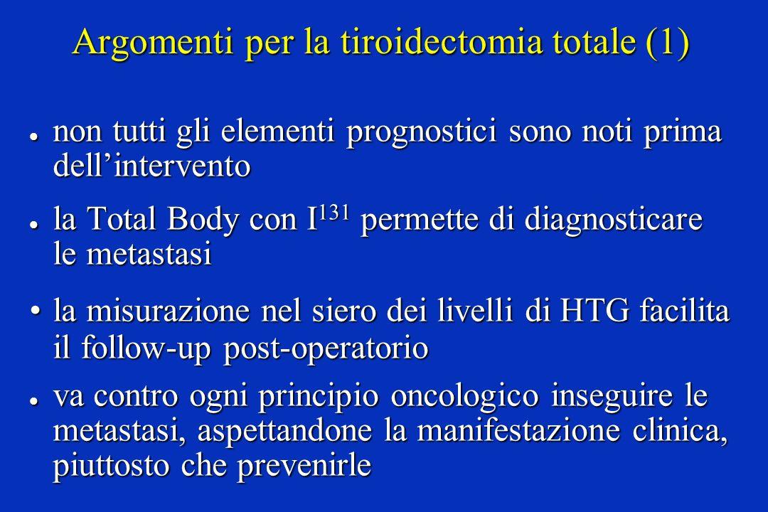 Argomenti per la tiroidectomia totale (1) l non tutti gli elementi prognostici sono noti prima dellintervento l la Total Body con I 131 permette di di