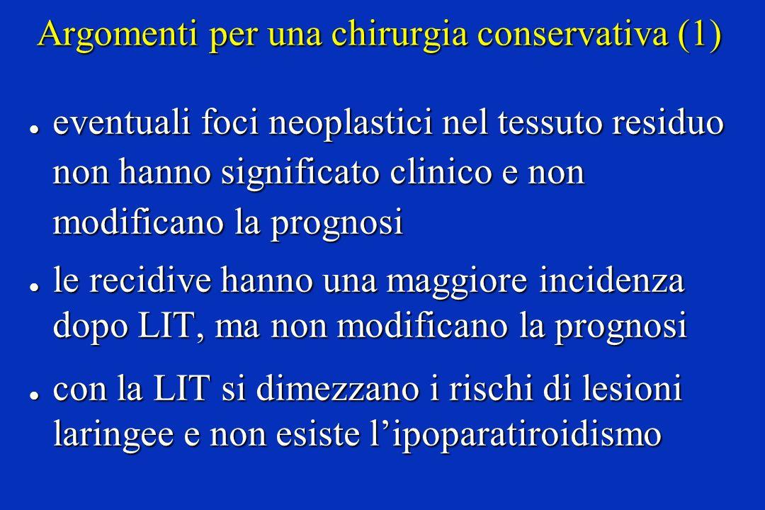 Argomenti per una chirurgia conservativa (1) l eventuali foci neoplastici nel tessuto residuo non hanno significato clinico e non modificano la progno