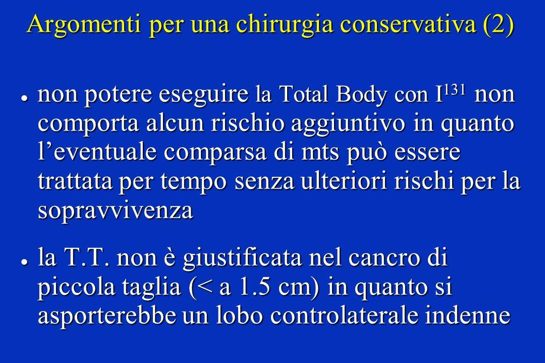 Argomenti per una chirurgia conservativa (2) l non potere eseguire la Total Body con I 131 non comporta alcun rischio aggiuntivo in quanto leventuale