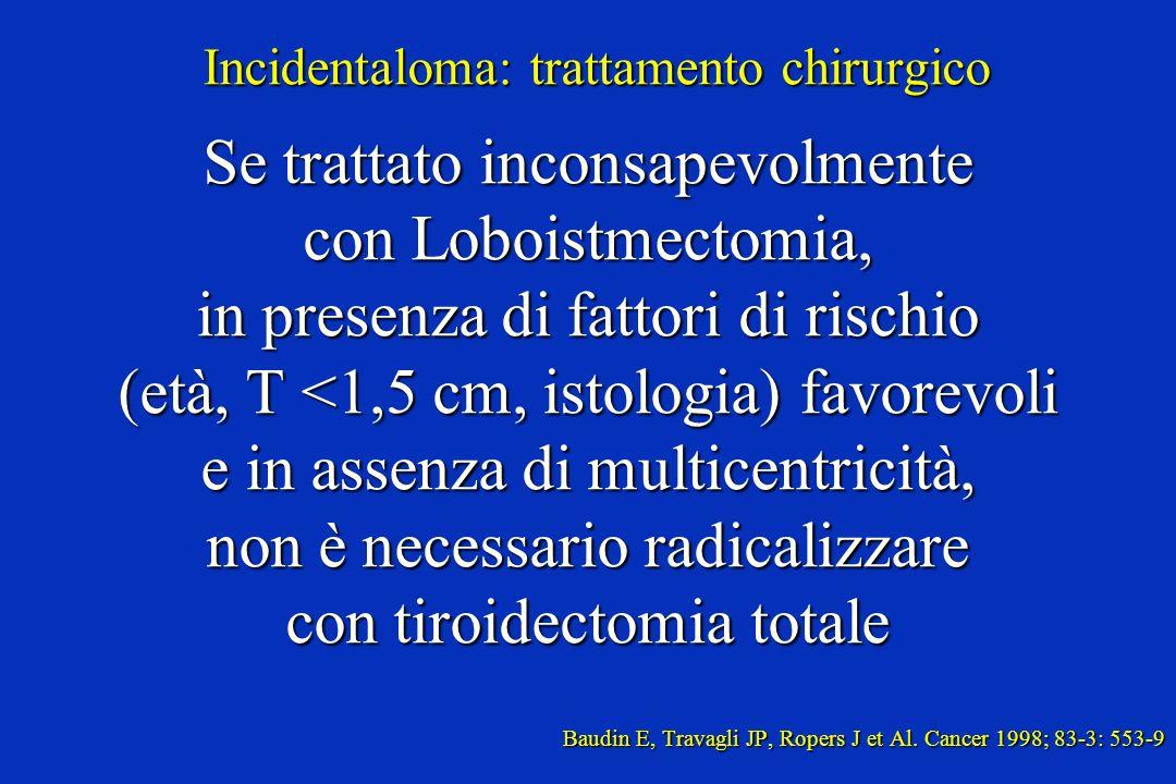 Incidentaloma: trattamento chirurgico Se trattato inconsapevolmente con Loboistmectomia, in presenza di fattori di rischio (età, T <1,5 cm, istologia)