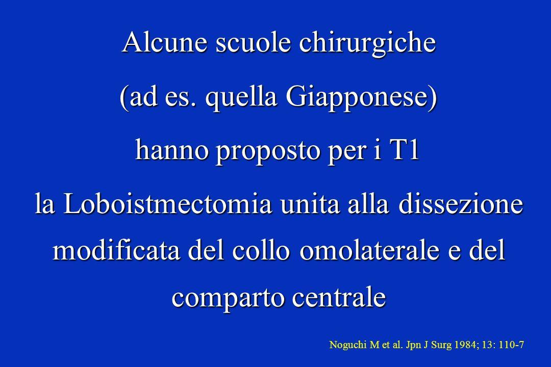 Alcune scuole chirurgiche (ad es. quella Giapponese) hanno proposto per i T1 la Loboistmectomia unita alla dissezione modificata del collo omolaterale
