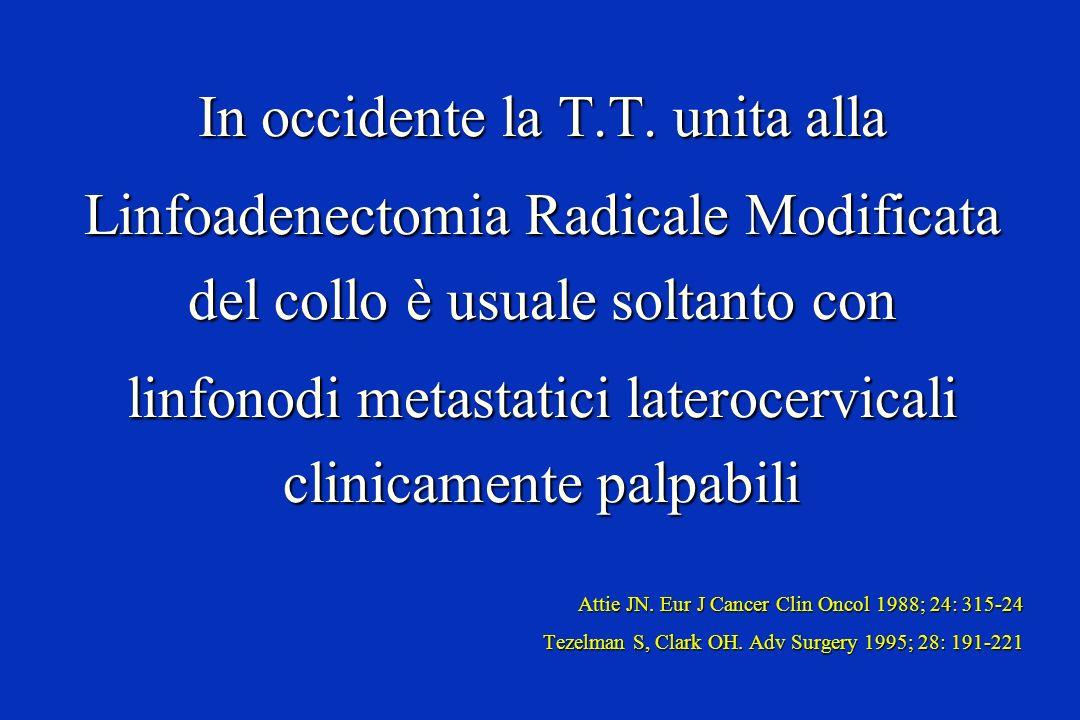 In occidente la T.T. unita alla Linfoadenectomia Radicale Modificata del collo è usuale soltanto con linfonodi metastatici laterocervicali clinicament