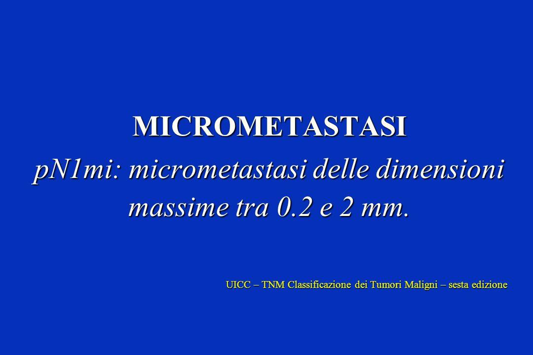 MICROMETASTASI pN1mi: micrometastasi delle dimensioni massime tra 0.2 e 2 mm. UICC – TNM Classificazione dei Tumori Maligni – sesta edizione