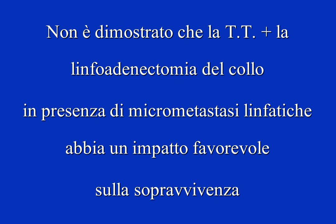 Non è dimostrato che la T.T. + la linfoadenectomia del collo in presenza di micrometastasi linfatiche abbia un impatto favorevole sulla sopravvivenza