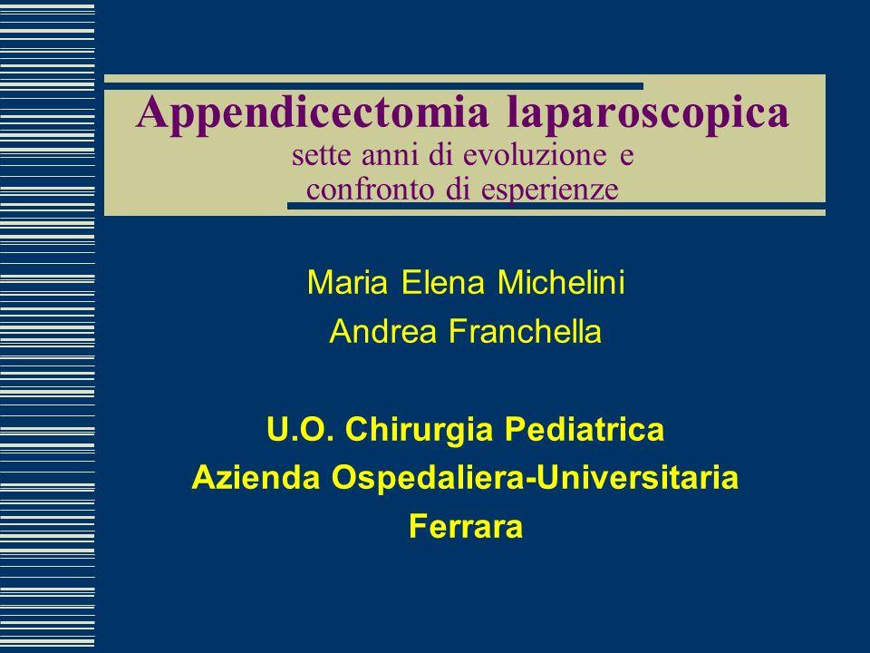 Appendicectomia laparoscopica sette anni di evoluzione e confronto di esperienze Maria Elena Michelini Andrea Franchella U.O. Chirurgia Pediatrica Azi
