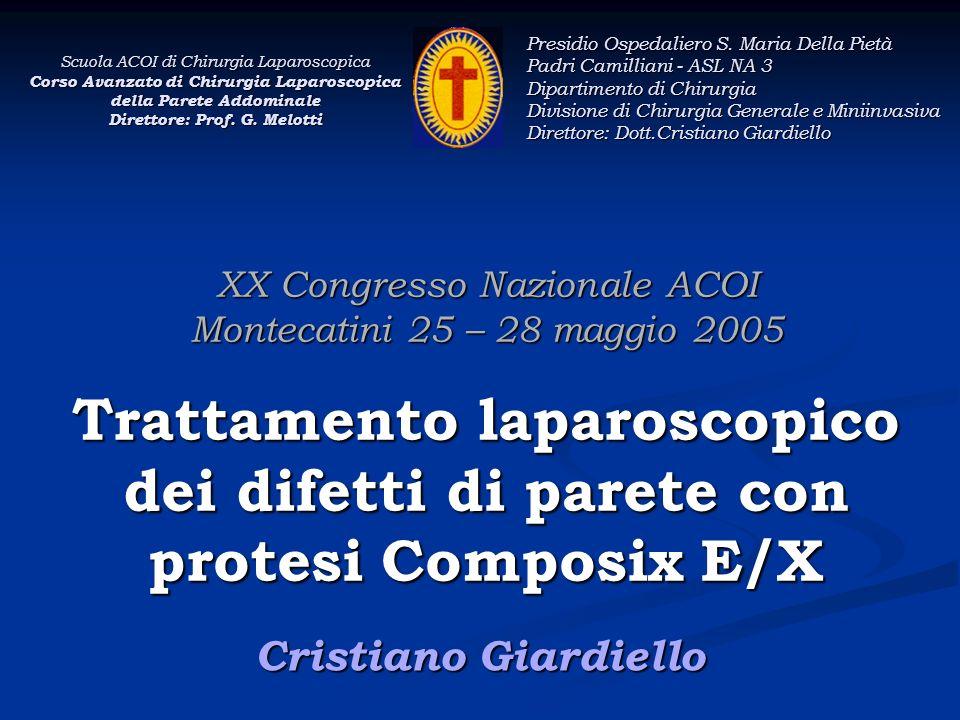 XX Congresso Nazionale ACOI Montecatini 25 – 28 maggio 2005 Trattamento laparoscopico dei difetti di parete con protesi Composix E/X Cristiano Giardie
