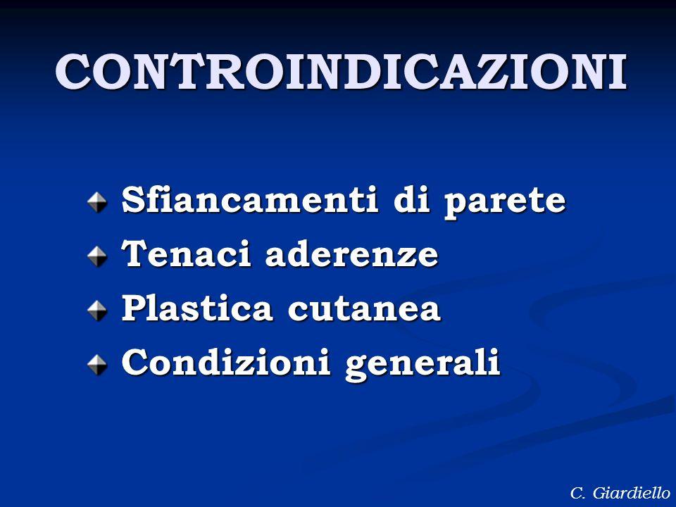C. Giardiello Sfiancamenti di parete Tenaci aderenze Plastica cutanea Condizioni generali CONTROINDICAZIONI