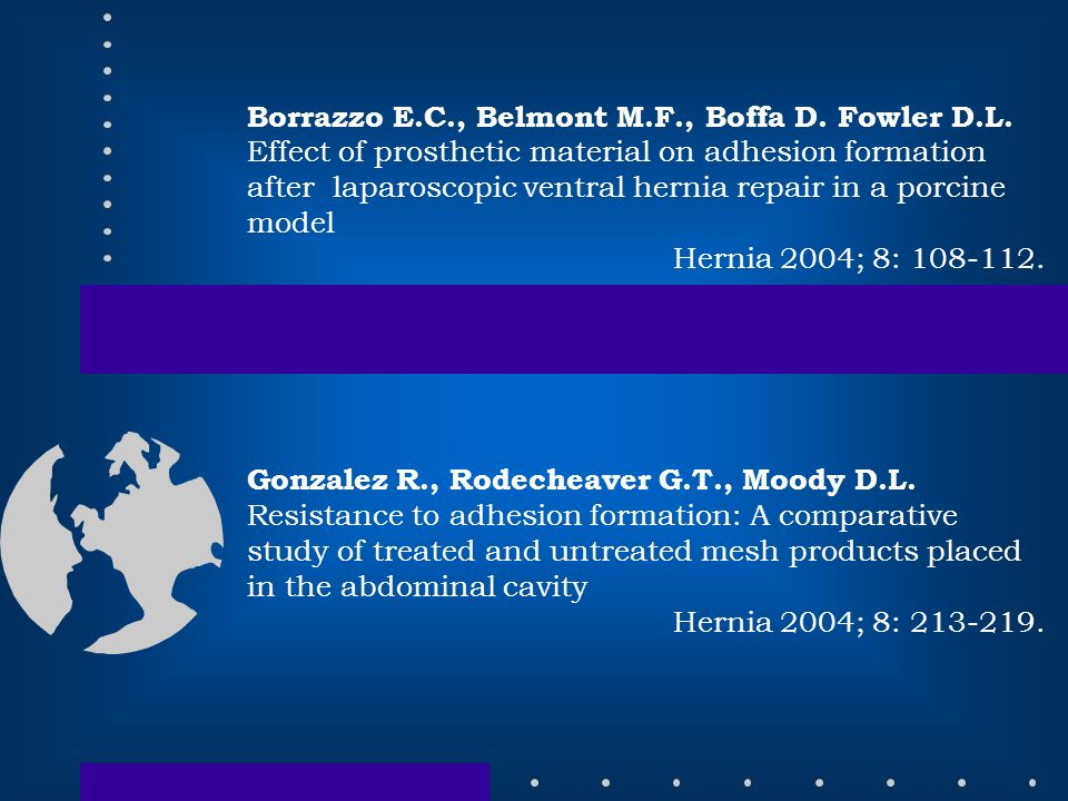 Borrazzo E.C., Belmont M.F., Boffa D. Fowler D.L. Effect of prosthetic material on adhesion formation after laparoscopic ventral hernia repair in a po