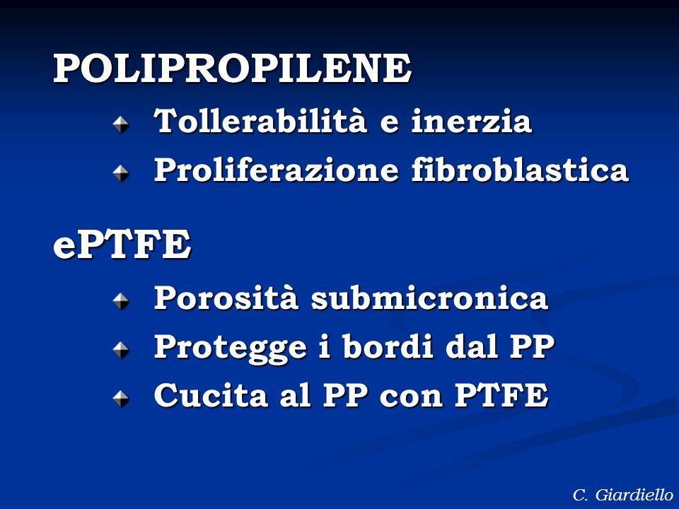 POLIPROPILENE Tollerabilità e inerzia Proliferazione fibroblastica ePTFE Porosità submicronica Protegge i bordi dal PP Cucita al PP con PTFE C. Giardi