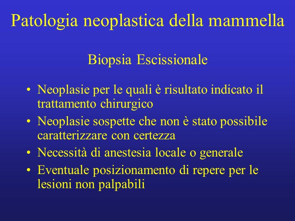 Patologia neoplastica della mammella Biopsia Escissionale Neoplasie per le quali è risultato indicato il trattamento chirurgico Neoplasie sospette che