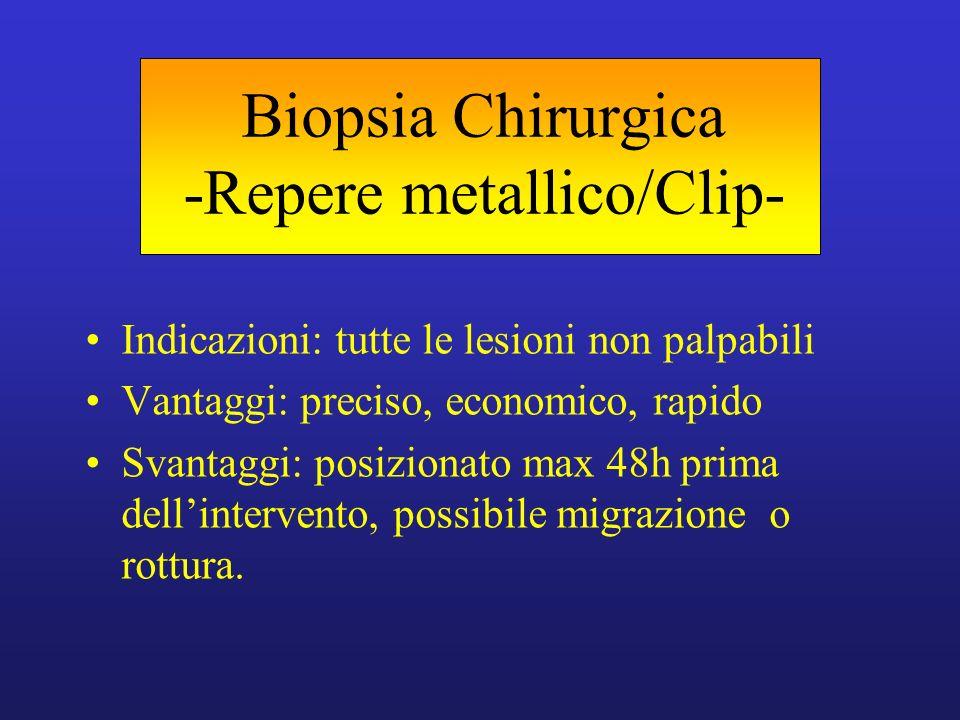 Biopsia Chirurgica -Repere metallico/Clip- Indicazioni: tutte le lesioni non palpabili Vantaggi: preciso, economico, rapido Svantaggi: posizionato max