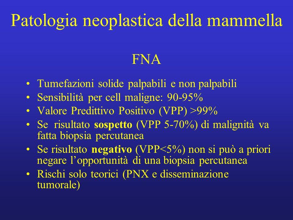 Patologia neoplastica della mammella FNA Tumefazioni solide palpabili e non palpabili Sensibilità per cell maligne: 90-95% Valore Predittivo Positivo