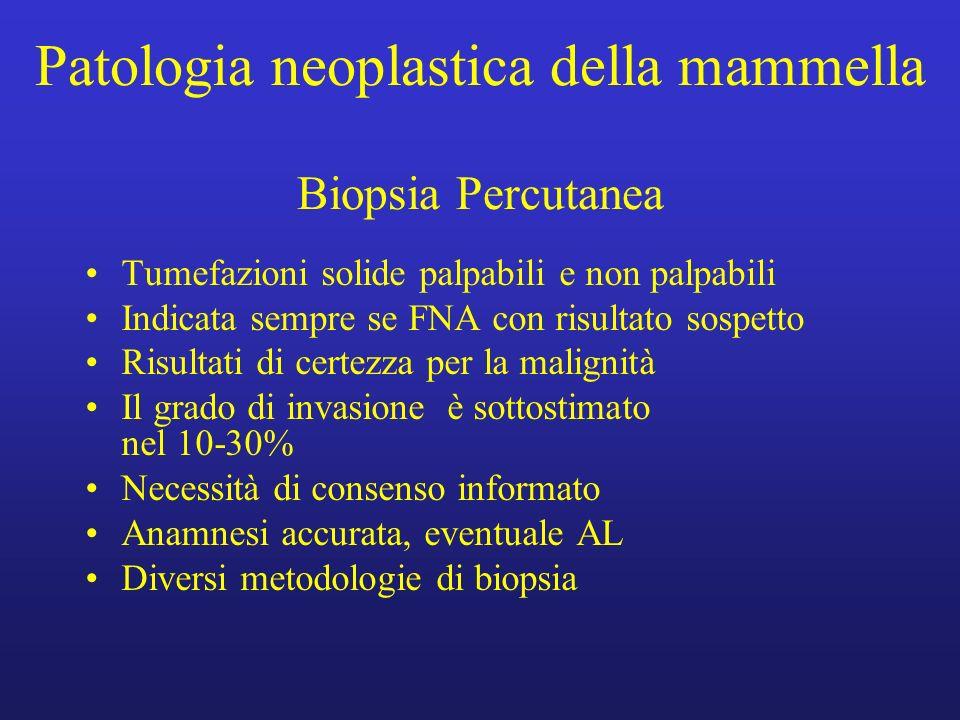 Patologia neoplastica della mammella Biopsia Percutanea Tumefazioni solide palpabili e non palpabili Indicata sempre se FNA con risultato sospetto Ris