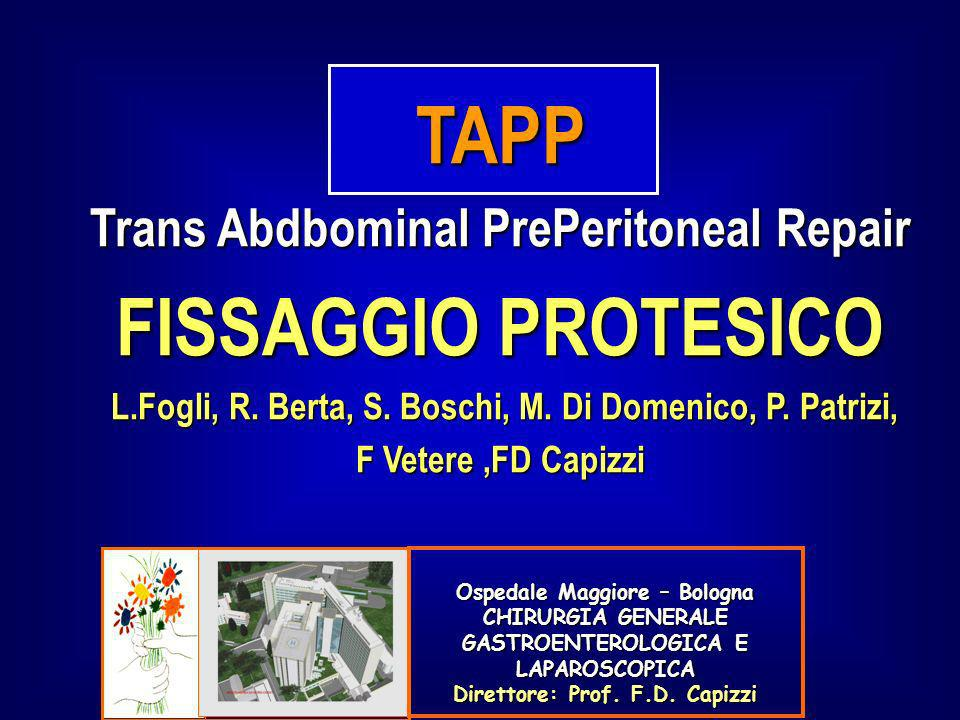 TAPP: Recidive 0 – 2% Importanza della learning curve Dissezione inadeguata e insufficiente parietalizzazione del funicolo Dislocazione della protesi da inadeguato fissaggio Restringimento della protesi (shrinkage) Allargamento dellorifizio erniario Lowham AS: Ann Surg 1997 Ospedale Maggiore – Bologna CHIRURGIA GENERALE GASTROENTEROLOGICA E LAPAROSCOPICA Direttore: Prof.
