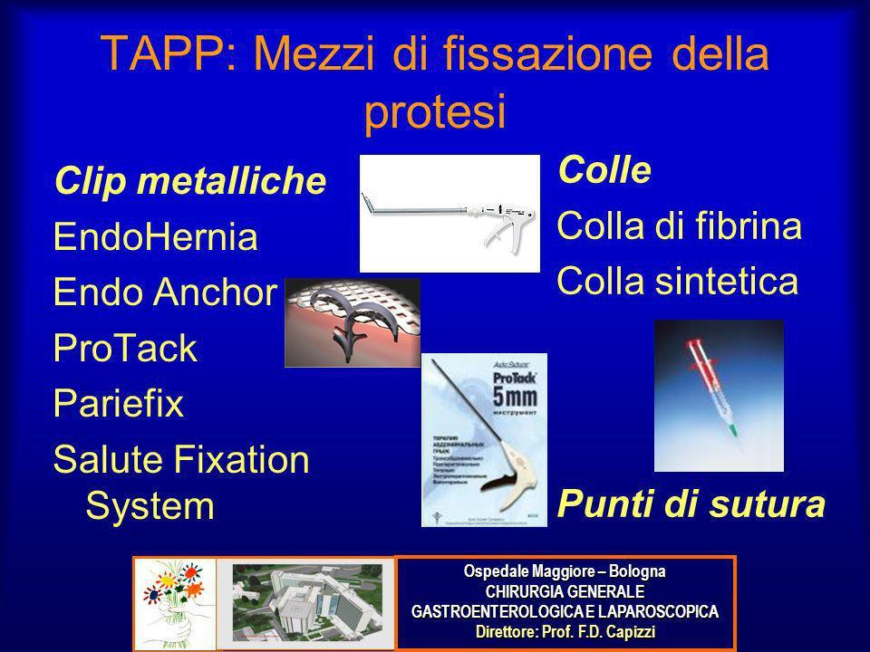 TAPP: Mezzi di fissazione della protesi Clip metalliche EndoHernia Endo Anchor ProTack Pariefix Salute Fixation System Colle Colla di fibrina Colla si