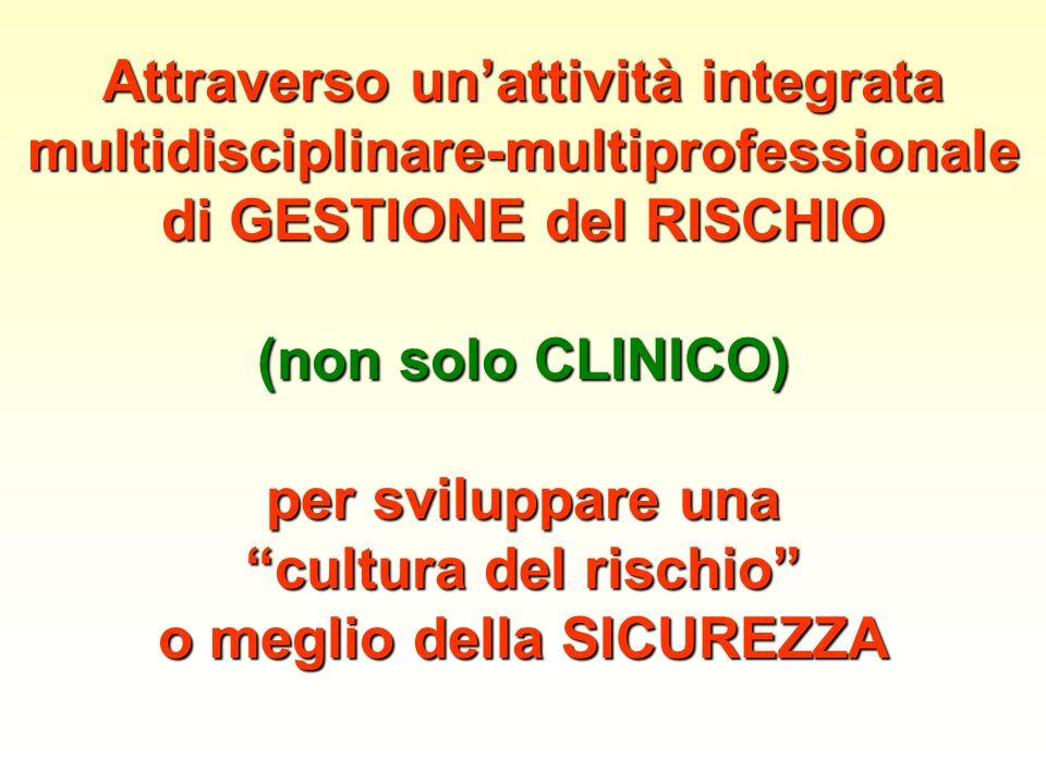 Attraverso unattività integrata multidisciplinare-multiprofessionale di GESTIONE del RISCHIO (non solo CLINICO) per sviluppare una cultura del rischio o meglio della SICUREZZA