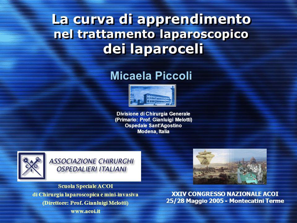 La curva di apprendimento nel trattamento laparoscopico dei laparoceli Micaela Piccoli Divisione di Chirurgia Generale (Primario: Prof. Gianluigi Melo