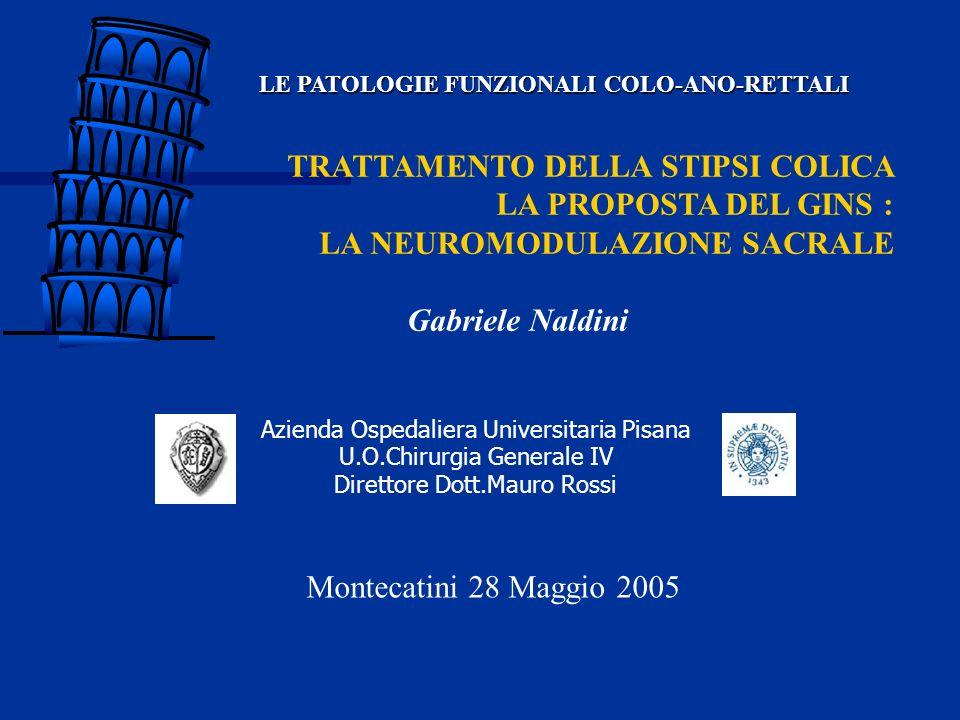 TRATTAMENTO DELLA STIPSI COLICA LA PROPOSTA DEL GINS : LA NEUROMODULAZIONE SACRALE Gabriele Naldini LE PATOLOGIE FUNZIONALI COLO-ANO-RETTALI Montecati