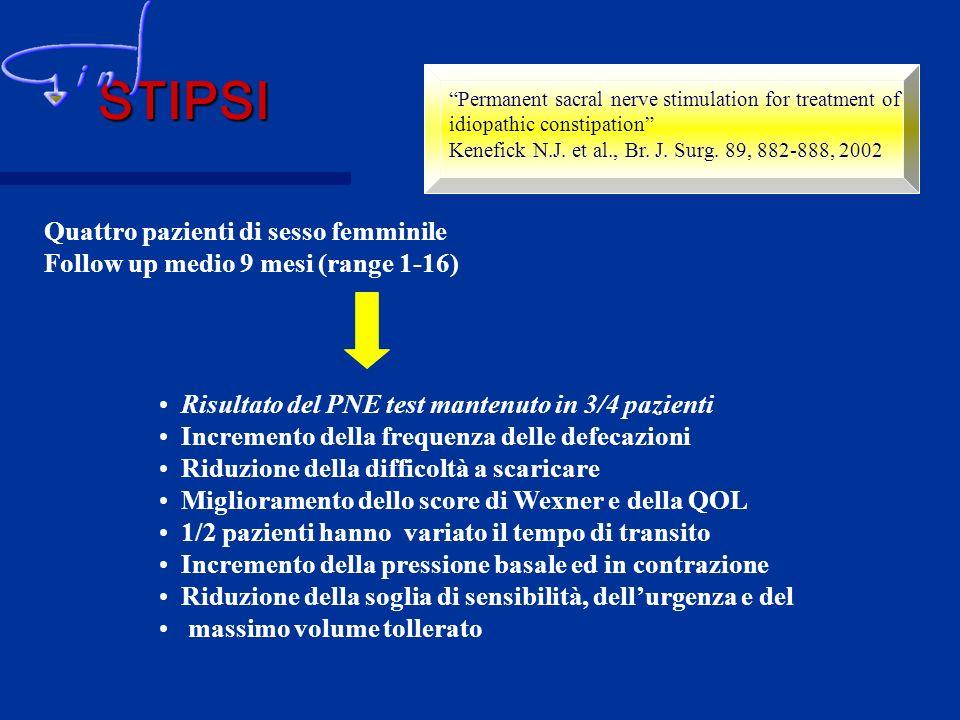 Permanent sacral nerve stimulation for treatment of idiopathic constipation Kenefick N.J. et al., Br. J. Surg. 89, 882-888, 2002 Quattro pazienti di s