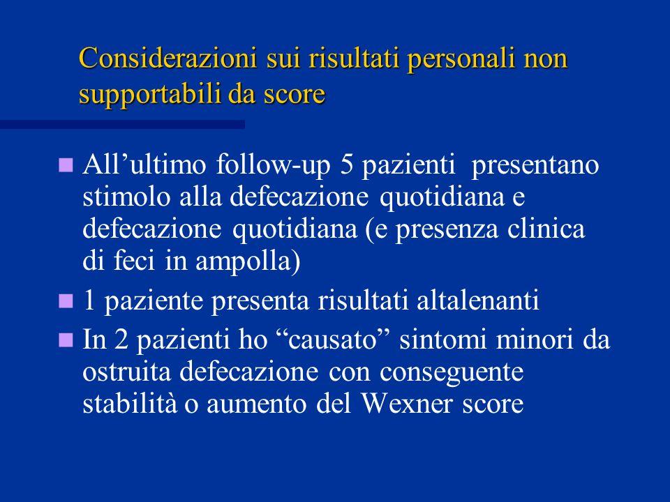 Considerazioni sui risultati personali non supportabili da score Allultimo follow-up 5 pazienti presentano stimolo alla defecazione quotidiana e defec