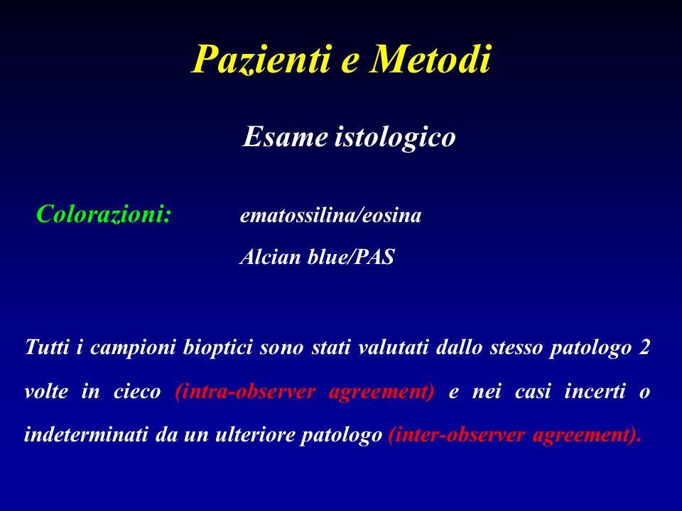 Pazienti e Metodi Esame istologico Colorazioni: ematossilina/eosina Alcian blue/PAS Tutti i campioni bioptici sono stati valutati dallo stesso patolog