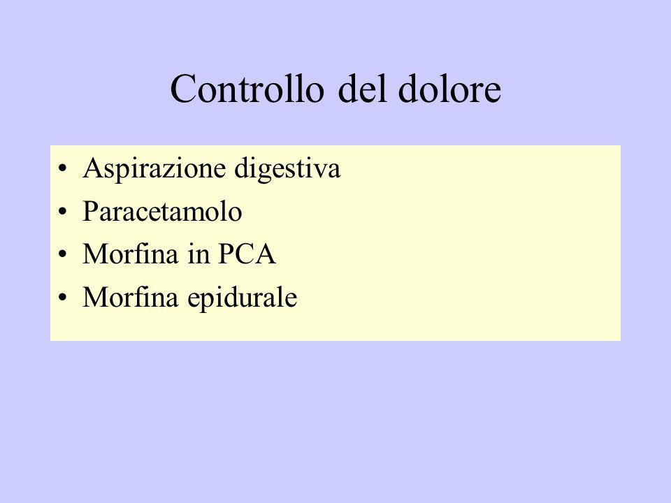 Controllo del dolore Aspirazione digestiva Paracetamolo Morfina in PCA Morfina epidurale