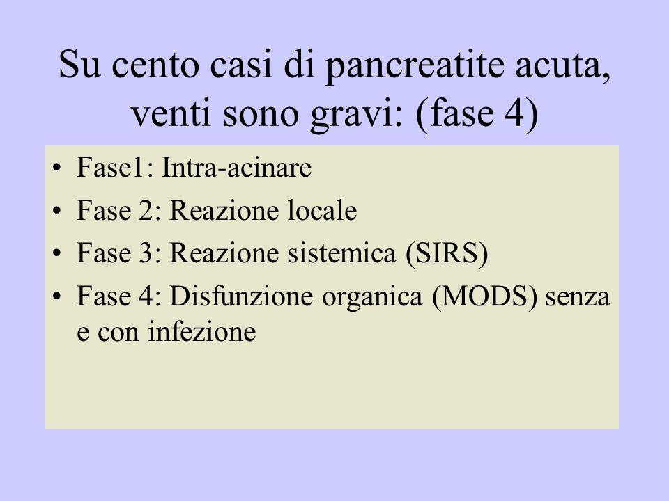 Su cento casi di pancreatite acuta, venti sono gravi: (fase 4) Fase1: Intra-acinare Fase 2: Reazione locale Fase 3: Reazione sistemica (SIRS) Fase 4: