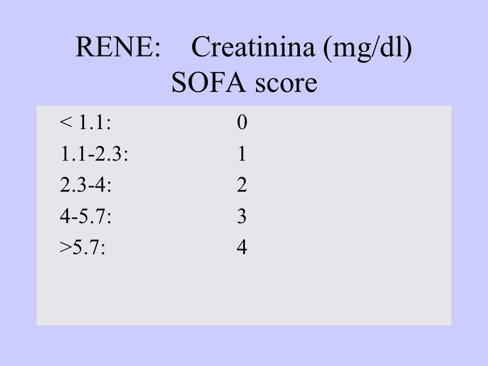 RENE: Creatinina (mg/dl) SOFA score < 1.1:0 1.1-2.3:1 2.3-4:2 4-5.7:3 >5.7:4