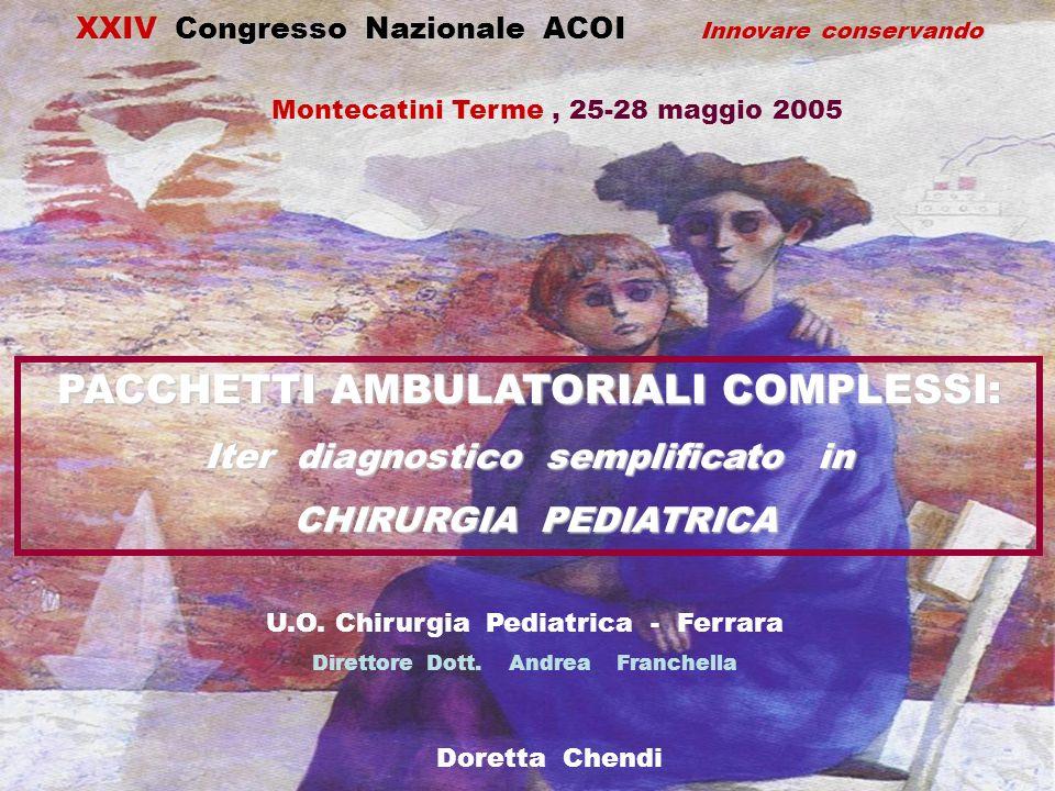 PACCHETTI AMBULATORIALI COMPLESSI: Iter diagnostico semplificato in CHIRURGIA PEDIATRICA CHIRURGIA PEDIATRICA XXIV Congresso Nazionale ACOI Innovare c