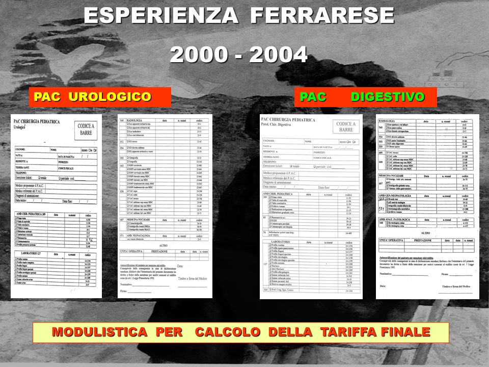 ESPERIENZA FERRARESE 2000 - 2004 MODULISTICA PER CALCOLO DELLA TARIFFA FINALE PAC UROLOGICO PAC DIGESTIVO