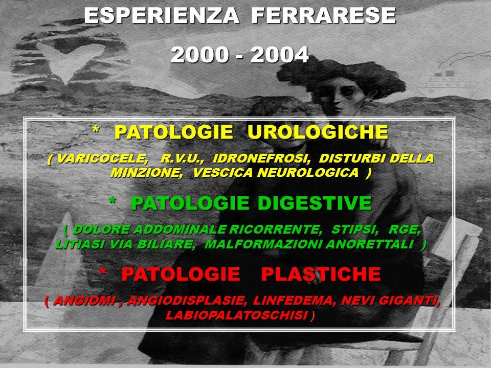 ESPERIENZA FERRARESE 2000 - 2004 * PATOLOGIE UROLOGICHE ( VARICOCELE, R.V.U., IDRONEFROSI, DISTURBI DELLA MINZIONE, VESCICA NEUROLOGICA ) * PATOLOGIE