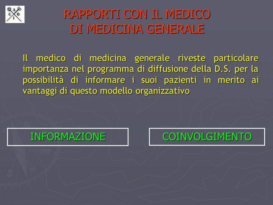 RAPPORTI CON IL MEDICO DI MEDICINA GENERALE Il medico di medicina generale riveste particolare importanza nel programma di diffusione della D.S. per l