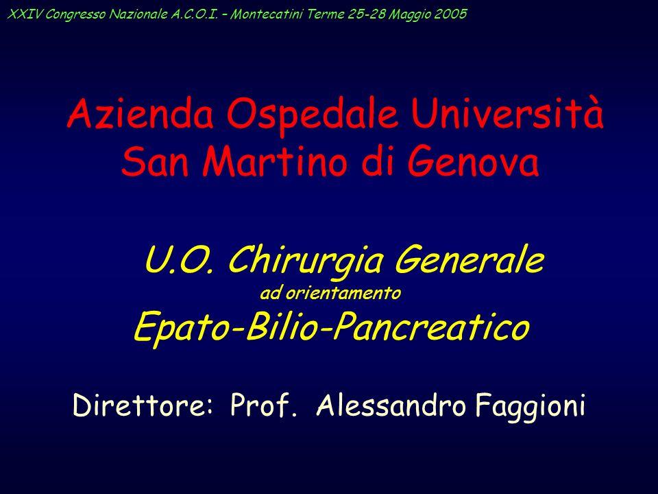 Azienda Ospedale Università San Martino di Genova U.O. Chirurgia Generale ad orientamento Epato-Bilio-Pancreatico Direttore: Prof. Alessandro Faggioni