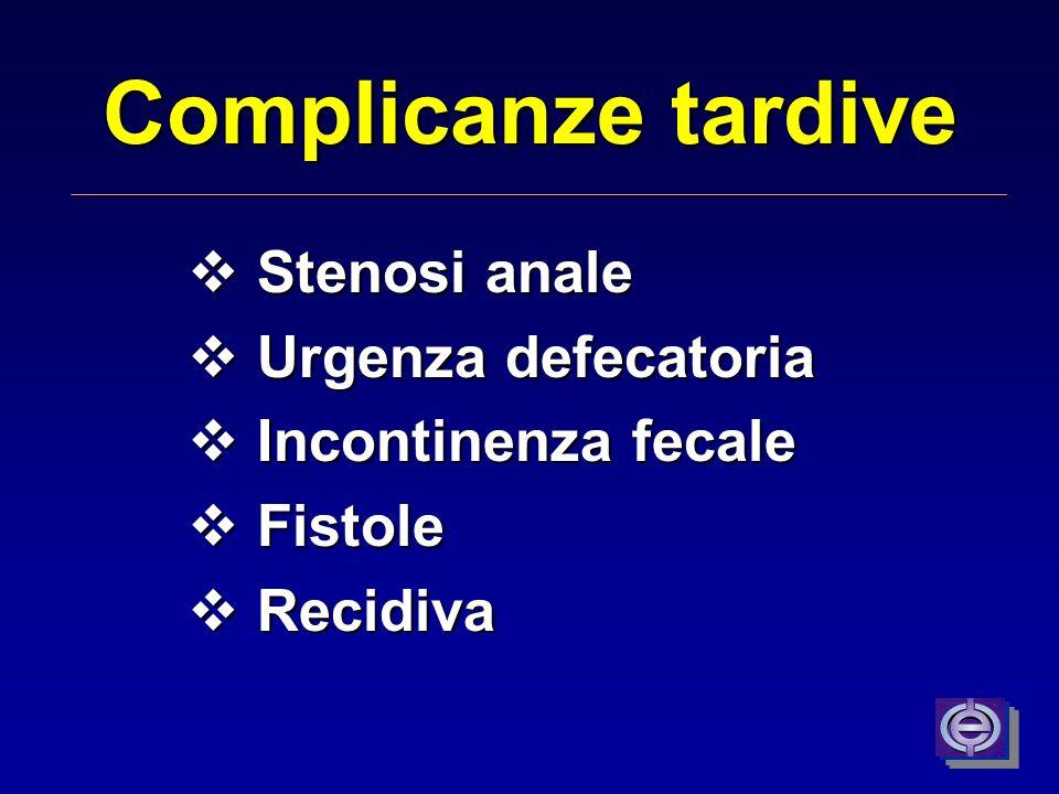 Emorroidectomia - Dolore Diminuzione delle coagulazioni Maggior precisione chirurgica No legatura del peduncolo Uso di nuovi strumenti di dissezione