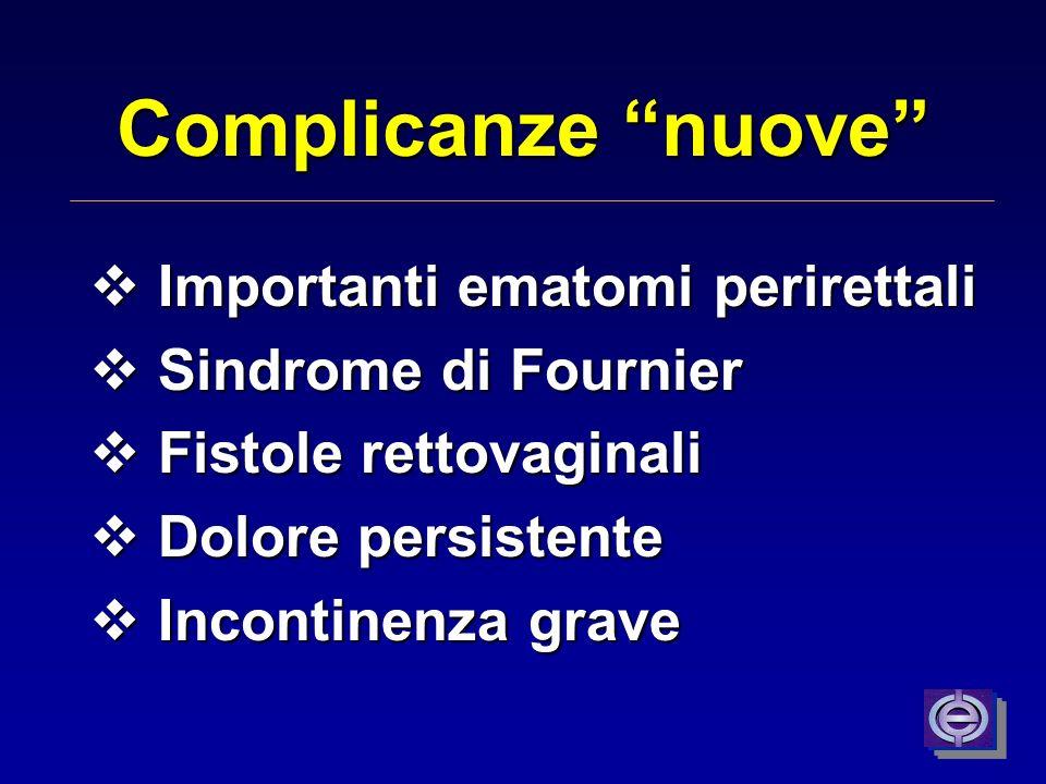 Complicanze nuove Importanti ematomi perirettali Importanti ematomi perirettali Sindrome di Fournier Sindrome di Fournier Fistole rettovaginali Fistol